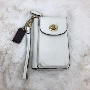 Coach White Leather Universal Zip Wallet Wristlet